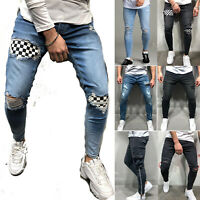 Men's Skinny Ripped Jeans Distressed Slim Fit Stretch Long Denim Pants Trousers