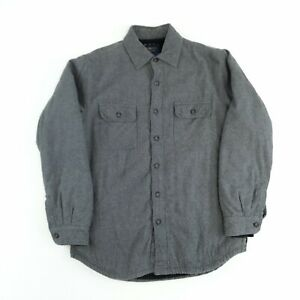Vintage Sherpa Lined Flannel Shirt Grey S Long Sleeve