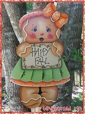 HP Wooden Yard Stake Gingerbread , Lawn Decoration, Yard Art , Fall, Woodcraft