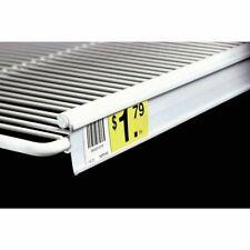 "White Plastic Open Face C-Channel Wire Shelf Price Holder Channel - 29 1/2""L x 1"