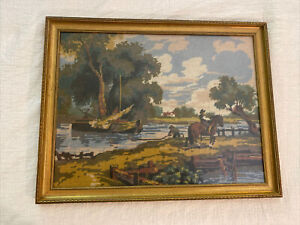 Vintage Needlepoint / Embroidered Country Farming Fishing Horse Framed 26 X 20