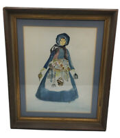 19th Century Original Watercolor Painting Girl Holding Lantern Signed By Artist