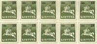 Lithuania 1990 SC 385 MNH block of 10 . e1757