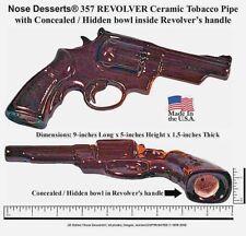 357-REVOLVER Pistol Gun Ceramic Glass Pocket Tobacco Pipe Made in the USA