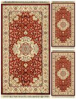Set Parure 3 pezzi Tappeto scendiletto rettangolare Opera disegno 585 Rosso
