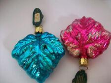 """Set of 2 Vintage Christborn Maple Leaf Ornaments  NOS  3.5""""T Germany 5"""