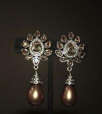 Estilo Art Deco Transparente /& Jet Crystal tassell Aros Colgantes Nuevos