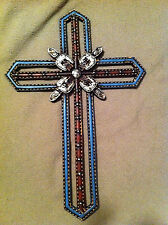 Western Style Hand Tooled Leather Look Wall Cross (RA4710A)