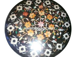 "24"" Beautiful Floral Marble Table Top Marquetry Inlay Columbus Day Decorate M349"