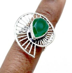 """Handmade 925 Sterling Silver Green Ruby Gemstone Jewelry Ring (US) Size-6.50"""""""
