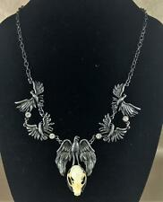 G57 Taxidermy Real Bat Skull Necklace Antiqued Silver Jewelry Oddities crow