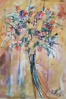 Marta Wiley-Orig Mixed Media Floral Painting in vivid Multicolor Hand signed/COA
