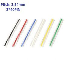 6 Colors 2x40pin 2.54mm Copper Needle Double Row Straight Male Pin Header Strip