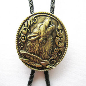 Bronze Plated Western Wolf Oval Bolo Tie