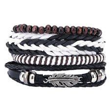 Bracciale braccialetto multi strato unisex corda ecopelle metallo PIUMA FEATHER