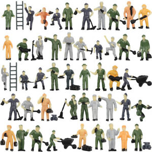 50pcs Model Railway 1:87 Well Painted Figure Workers HO Scale Engineering People