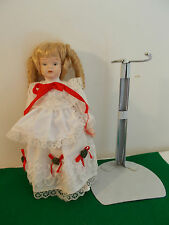 """Vintage Porcelain 8"""" Doll with Long White/Red Lace Dress, Metal Stand"""