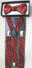Red Black Zebra Animal Print Bow tie & Red Black Zebra Animal Print Suspenders!