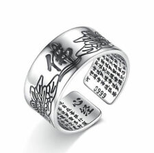 Men's Women 925 Sterling Silver Lotus Buddhist Scripture Punk Gothic Open Rings