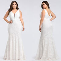 Ever-Pretty White Plus Size Long V-neck Wedding Gown Mother Of Bride Dress 08838