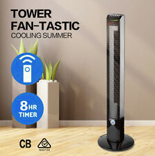 Pedestal Tower Fan with Remote Control Black Stylish Modern Floor