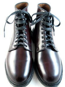 "Allen Edmonds ""HIGGINS MILL"" SHELL CORDOVAN Leather Boots 9.5 D Burgundy (596)"