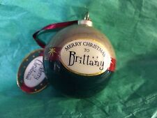 MERRY CHRISTMAS to BRITTANY Paper Mache Ball Ornament STOCKING STUFFER Teacher
