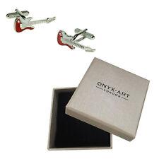 Mens Red Strat Guitar Musician Cufflinks & Gift Box By Onyx Art