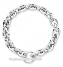 "RHODIUM PLATED 925 HALLMARKED SILVER HEAVY CHUNKY T BAR BRACELET 7.25"" 28 GMS"