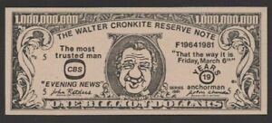 US/Walter Cronkite Reserve note ...1.000.000.000 Dollars ...1981 UNC JOURNALIST.