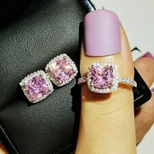 14k White GoldOver 4CT Cushion Cut Pink Sapphire Halo Ring & Stud Earrings Combo