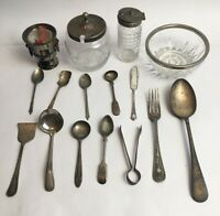 Vintage Silver Plate And Metal Spoons Knife Forks Bowl Lidded Pots Urn