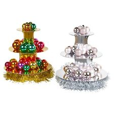 Gold & Silver 3 Tier Christmas Cake Stand Food Decorations Baubles Canapés Party