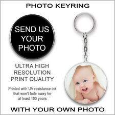 PERSONALISED PHOTO Keyring Keychain CUSTOMISED Key Ring Chain GIFT IDEA