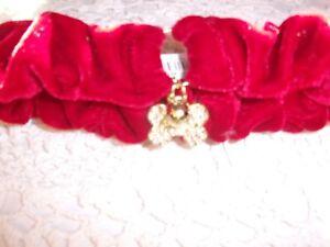 Red VELVET Rhinestone BONE BELL Simply Dog COLLAR SMall S Scrunchie Christmas
