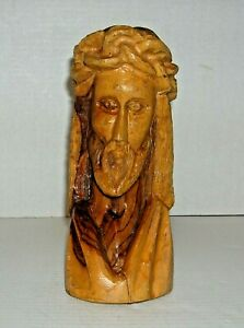 Hand Carved Olive Wood Jesus Bust Statue Figure Crown of Thorn Christian Christ