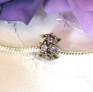 BEAUTIFUL Antique Silver Lilac Rhinestone Jewelled Charm Bead for Bracelet