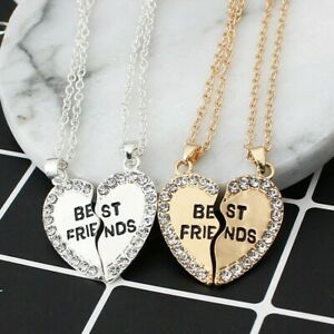 New 2PCs Crystal Heart Pendant Necklace 2020 Silver Gold Jewelry BFF Best Friend