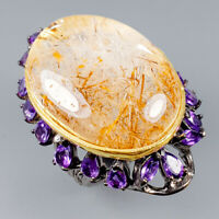 Handmade Natural Rutilated Quartz 925 Sterling Silver Ring Size 7/R118950