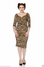 Animal Print 3/4 Sleeve Knee Length Stretch, Bodycon Women's Dresses