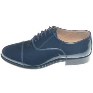 Scarpe uomo stringate classiche con mezza punta in vernice blu made in italy fon