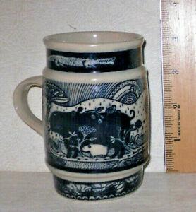 Vtg Taylor & Ng Frog Hippo Alligator MUG CUP Cobalt Blue Japan 1976 Mid Century