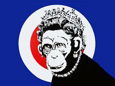 "BANKSY Monkey Queen *FRAMED* CANVAS ART Poster landscape 16""X 12"""