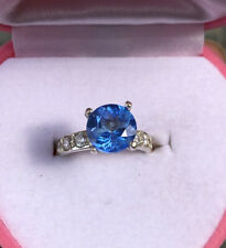 London Blue Topaz Ring .925 Sterling Silver Size 6.5