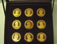"""9 Bronze-Medaillen """"Präsidenten und Bundeskanzler"""" PP im Etui mit Zertif."""