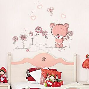 Wall Stickers Nursery Decal Cute Pink Animal Bear Flower Children Room Decor