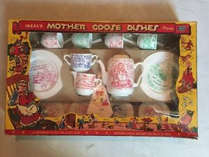 Vintage Ideal's Mother Goose Dishes Plastic Set,Ideal Toys,Original Box,RARE!!