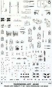 TAURO MODEL TM48/569 DATA STENCILLINGS LO-VIZ PER F-104 A.M.I. SCALA 1:48