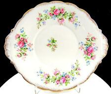 """ROSLYN CHINA ENGLAND MOSS ROSE PINK ROSES 9 3/8"""" HANDLED CAKE PLATE"""