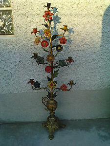 ancien candelabre eglise fleurs laiton bougeoirs chandelier